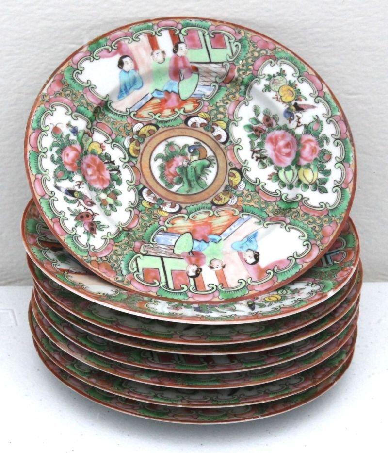 "set of eight 19thC Rose Medallion small plates - 6"""