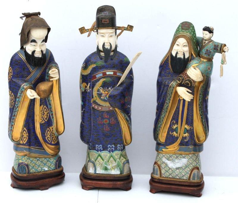 set of 3 impressive Chinese cloisonne & ivory carved