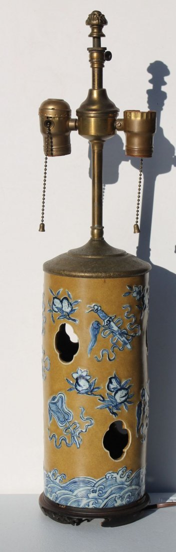 antique Chinese porcelain wig stand - overall height is