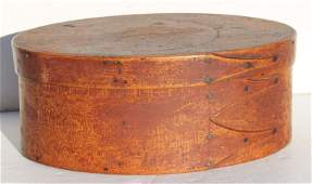 fine ca 1840 New Lebanon Shaker maple  pine oval 3
