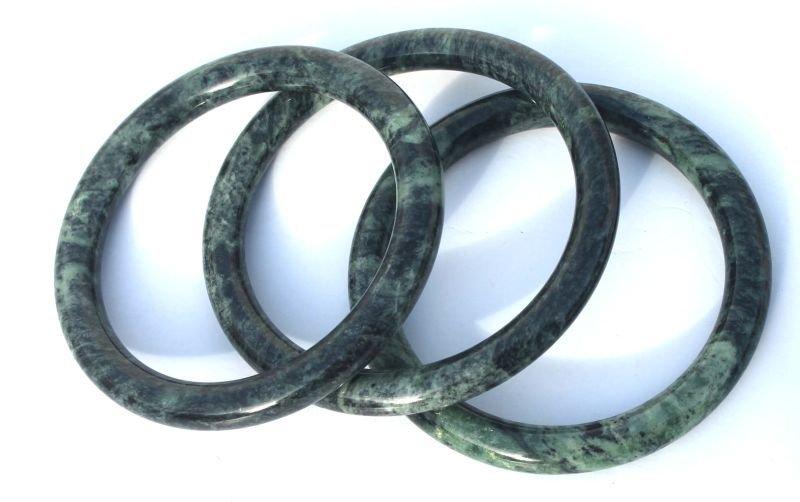 "3 Chinese spinach jade bangle bracelets - 3 1/4"" diam"