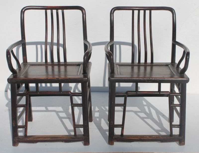 pr of Chinese hardwood armchairs in excellent cond - 38