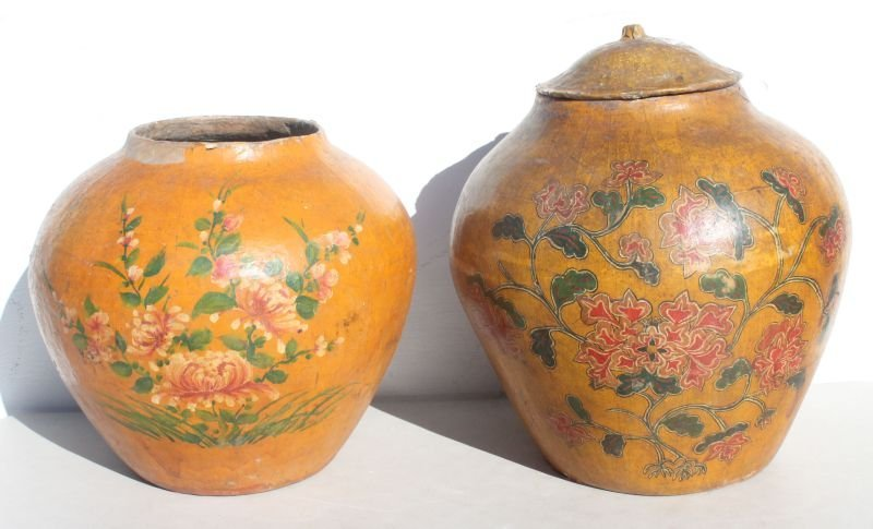 2 Chinese large papier mache vessels w hand painted flo