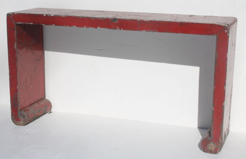 lot of 2 Chinese altar tables - 1 in a worn red lacquer