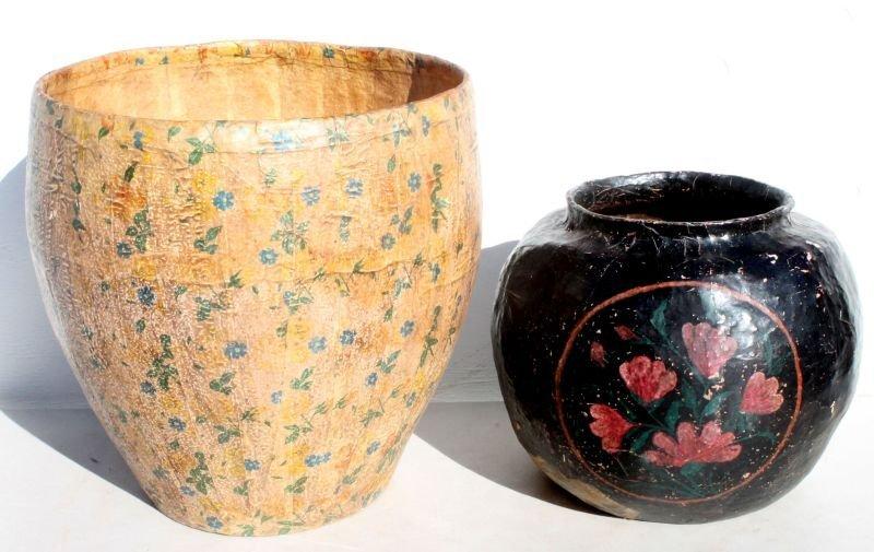 2 Chinese papier mache vessels w hand painted dec - 1 w