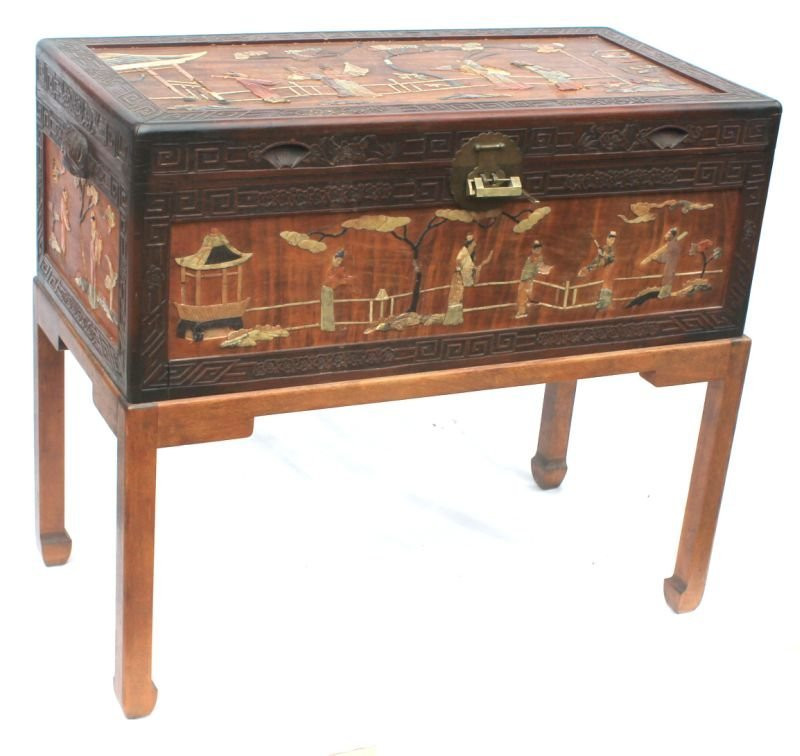 Chinese camphorwood chest on frame w/ jade and hard sto