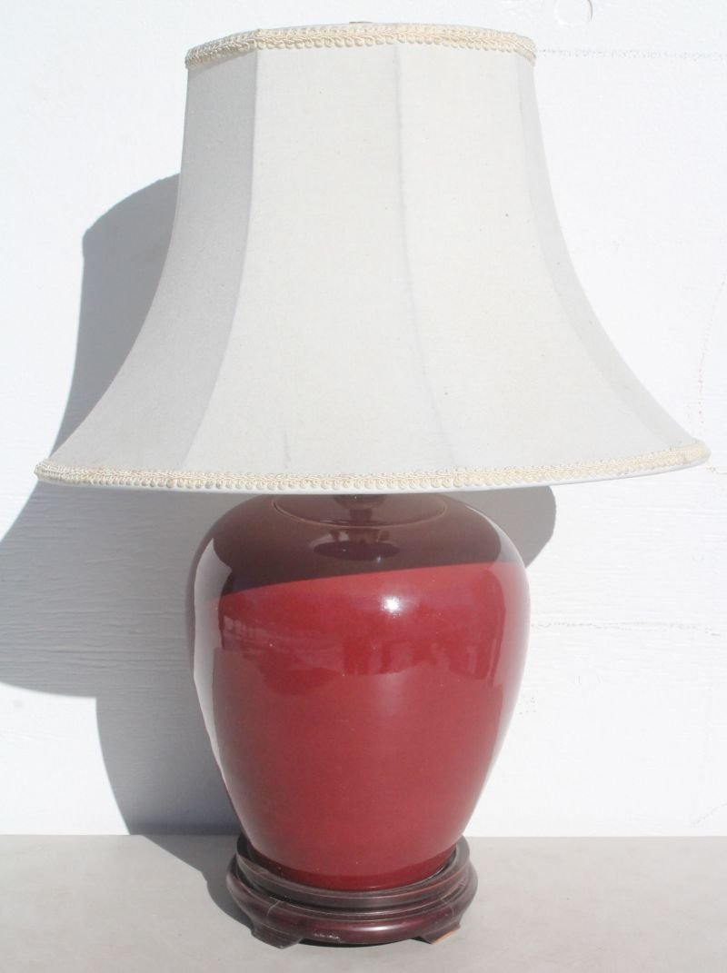 """Chinese oxblood colored porcelain lamp - 25 1/2"""" overal"""