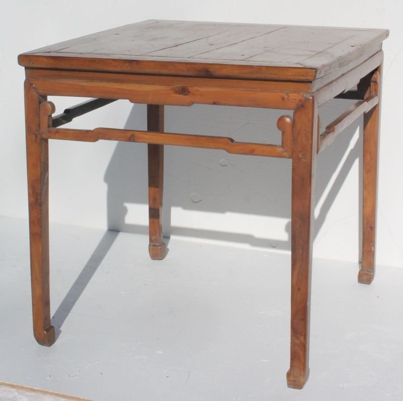 """Chinese square carved wooden table - 33"""" square top x 3"""
