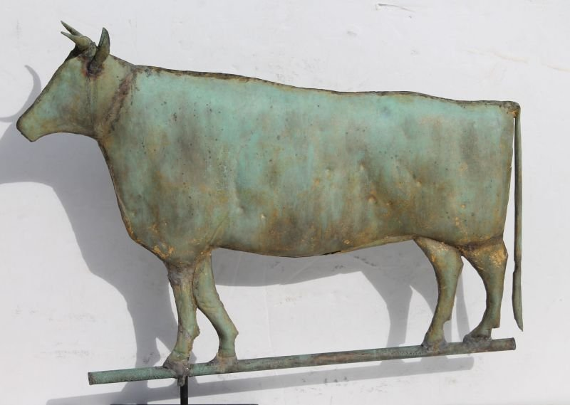 extremely rare form 19thC copper bull weathervane in ni