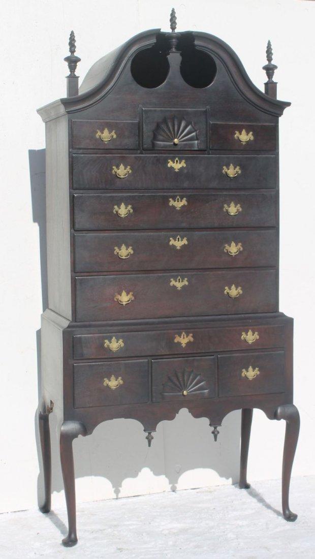 Important period QA ca 1740-1760 Essex, MA carved black