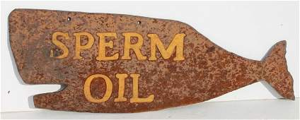 late 19thC rare Cape Cod MA whale oil trade sign depict