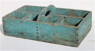 19thC wooden carrier w handle  divided interior in old