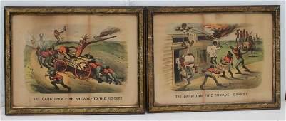 """pr of 1884 Currier & Ives """"Darktown Fire Brigade"""" hand"""