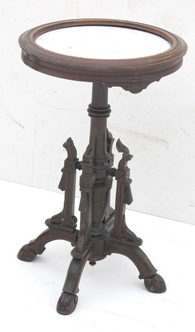 Victorian Renaissance carved walnut inset marble top ro