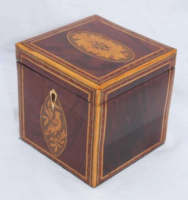 antique tea caddy w extensive inlay including bird & fl