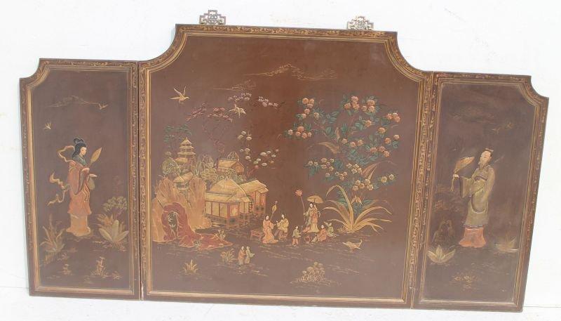 3 panel Chinese folding screen w raised figural & sceni
