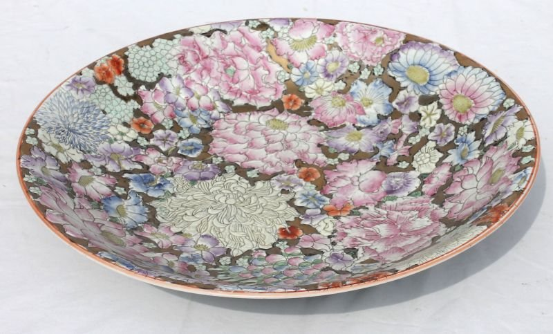 """Very pretty 16"""" hand painted & enamelled all over flora"""