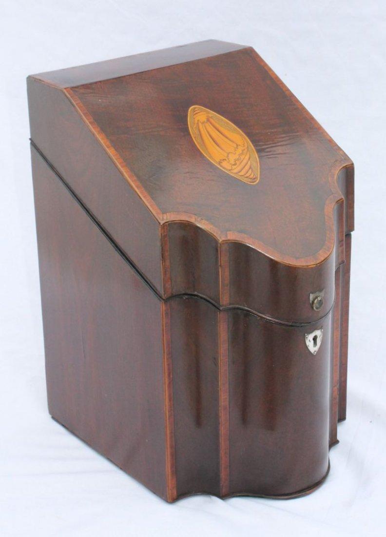 period Federal mahog knife box w extensive inlay  featu