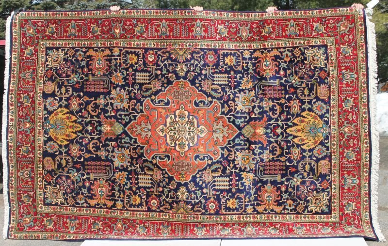 "7'3""x10'10"" semi-antique sgnd Persian Tabriz rm size Or"