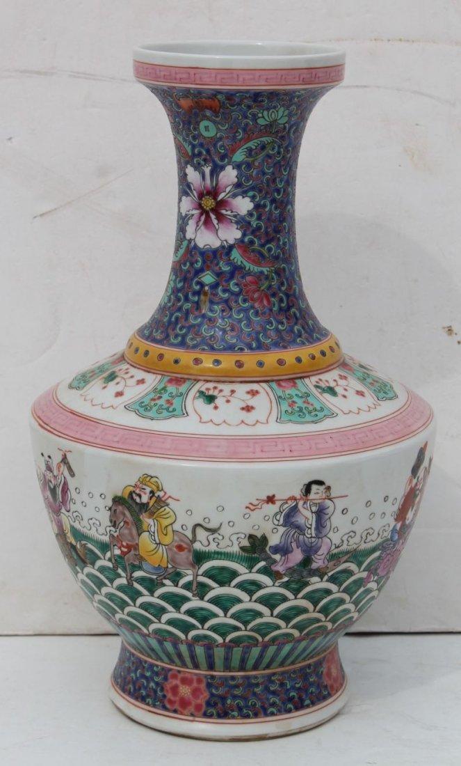 """Chinese Famille Verte 16"""" porcelain vase w figural scen"""