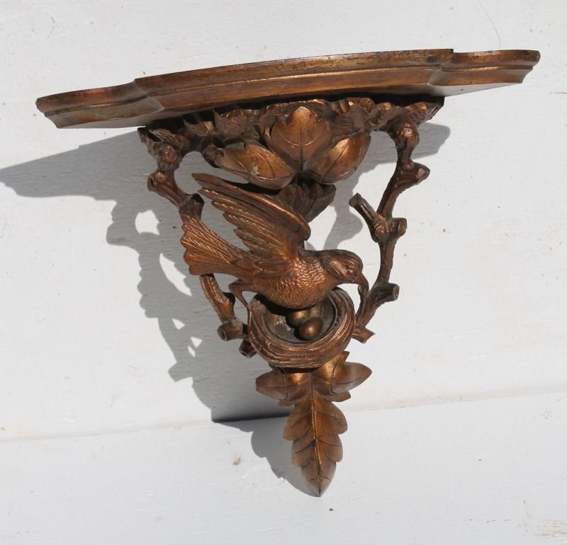 19thC Black Forest carved walnut corner shelf w bird &