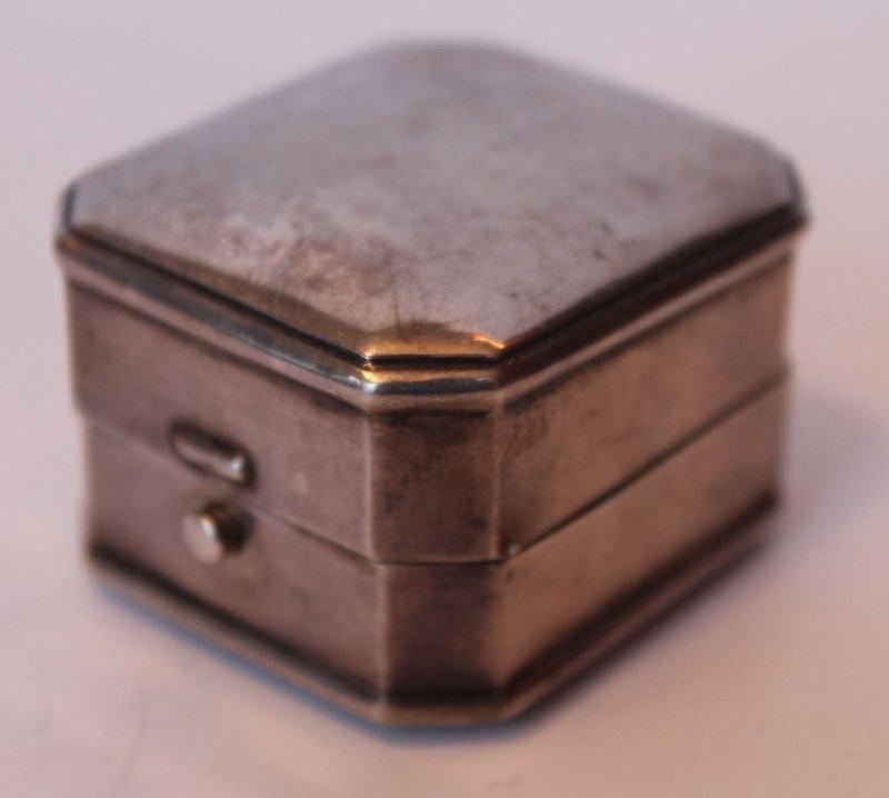 antique sterling silver Birks ring box w velvet interio