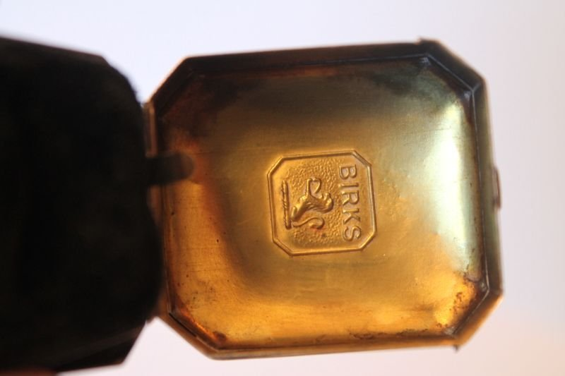 antique sterling silver Birks ring box w velvet interio - 2