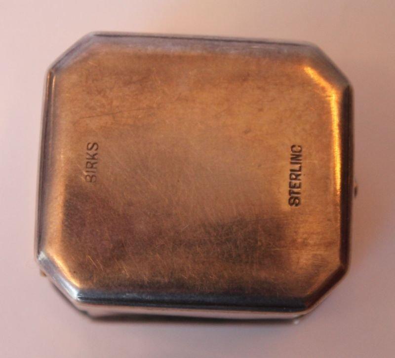antique sterling silver Birks ring box w velvet interio - 3