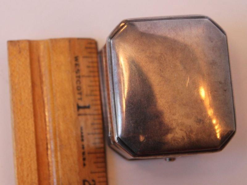 antique sterling silver Birks ring box w velvet interio - 4