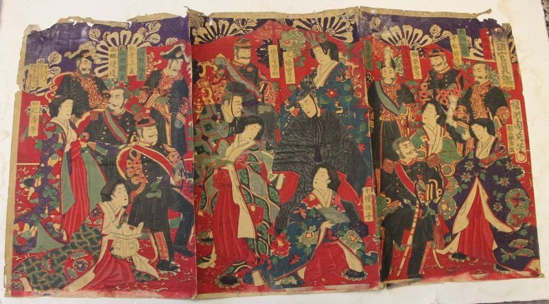 Japanese woodblock print triptych very colorful multi