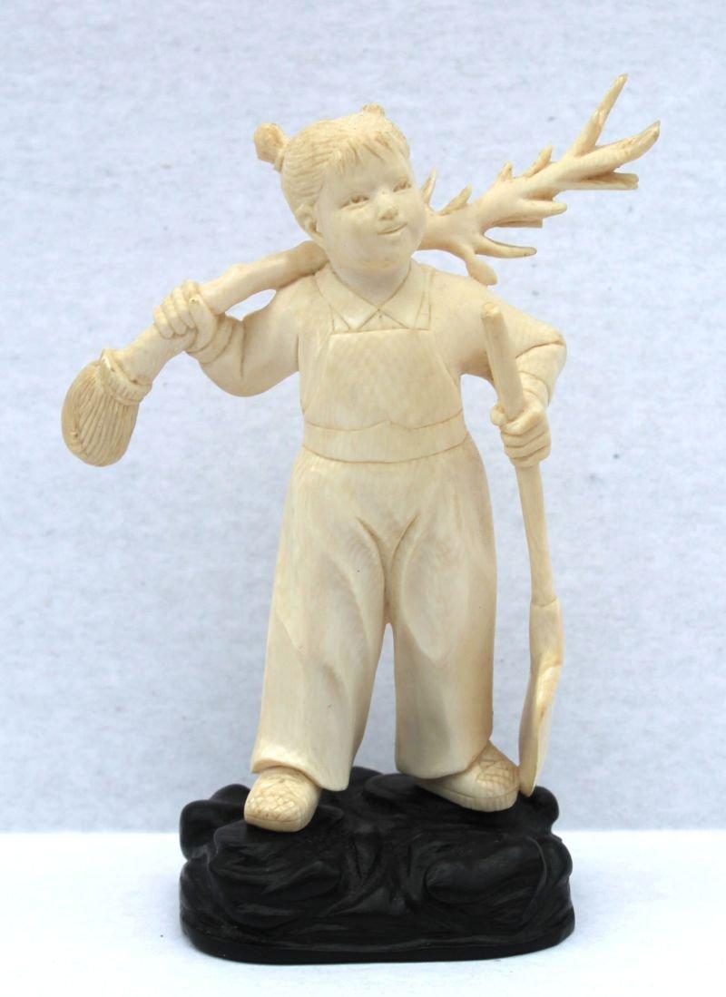 Chinese Cultural Revolution carved ivor female figure -