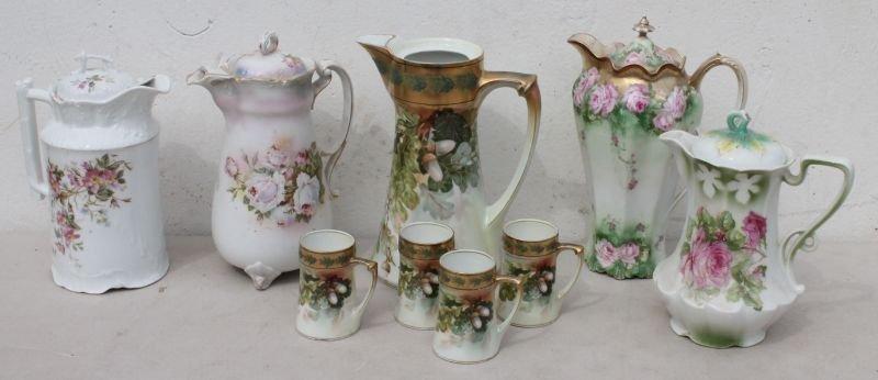lot of 5 porcelain chocolate pots (1 without lid) & 4 c