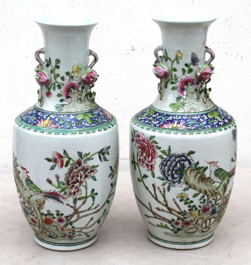 pr of Chinese porcelain vases in Famille Blue w hand pt