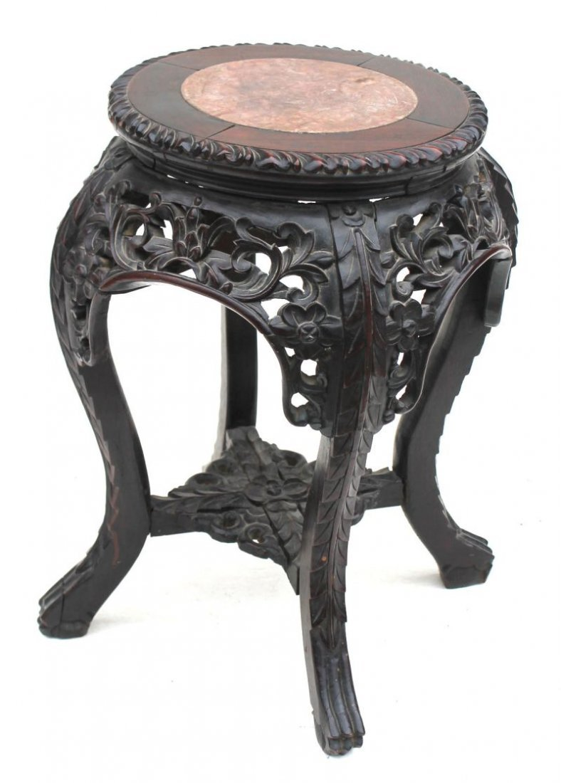 """19thC Chinese teak carved marble top taboret - 18 1/2"""""""