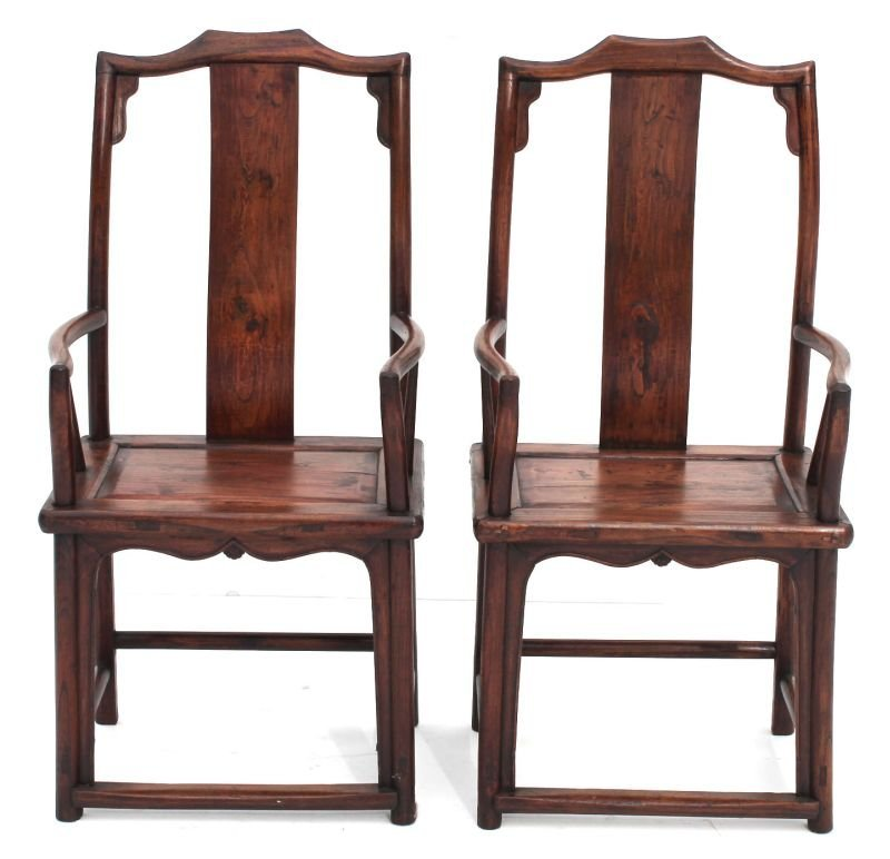 pr of Chinese hardwood armchairs in excellent cond - 45