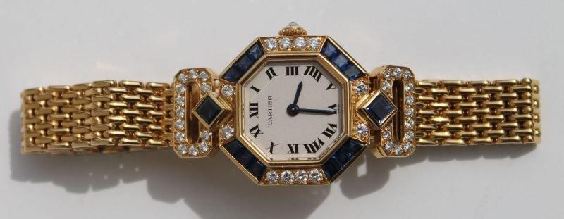 Rare & desirable Cartier 18k gold w diamonds & sapphire