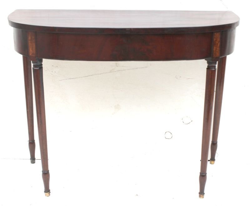 ca 1800 period Sheraton bow front hall table w unusual