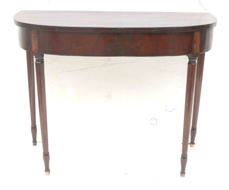 ca 1800 period Sheraton bow front hall table w unusual  - 4