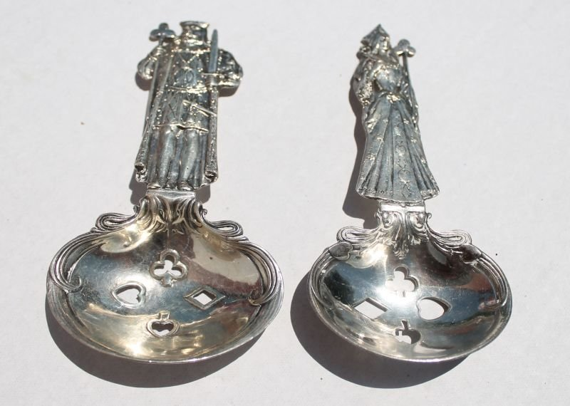 pr of Whiting sterling silver King & Queen playing card