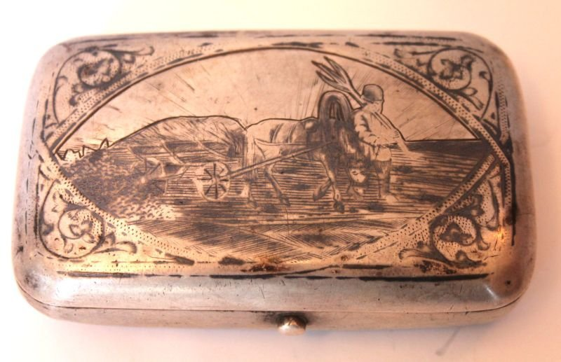 dated 1883 Russian silver trinket box engraved horse &