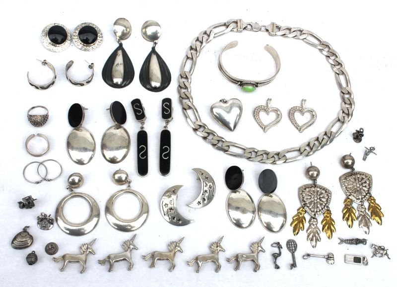 lot of misc sterling silver silver jewelry incl