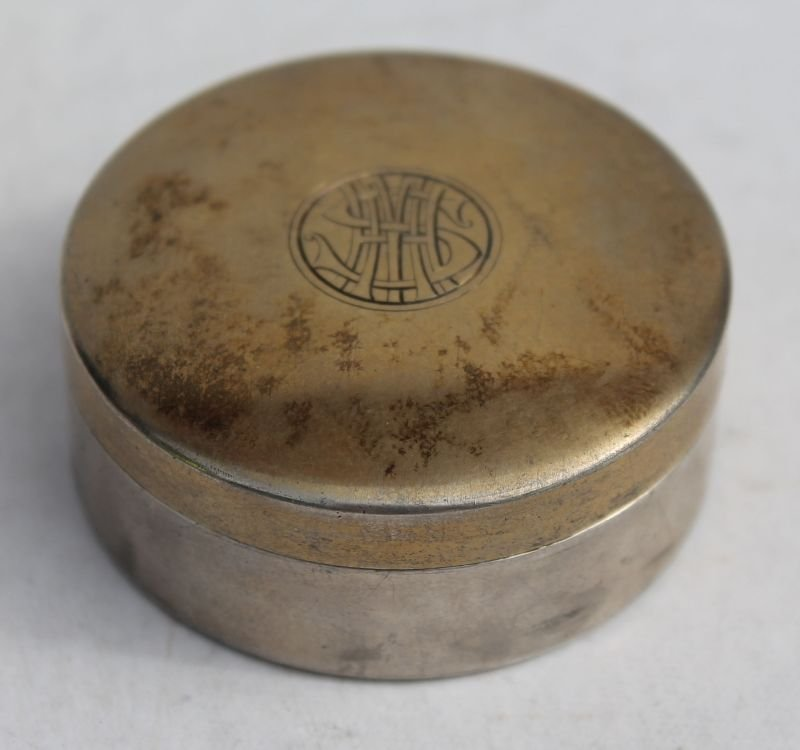 """antique French silver pill box w gold wash on lid - 2"""""""