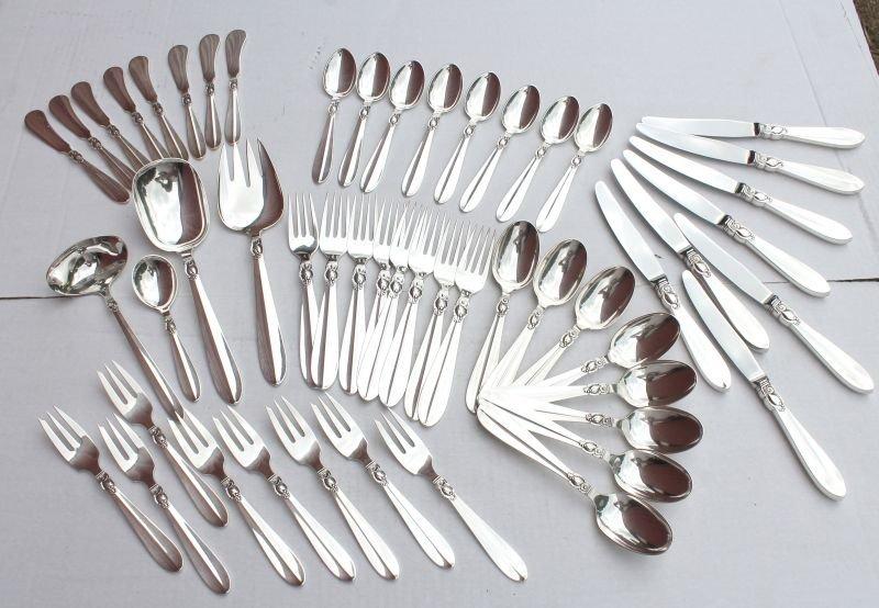 48 pc Frigast Denmark sterling silver flatware service
