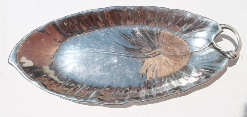 sterling silver leaf form bread tray - weighs approx