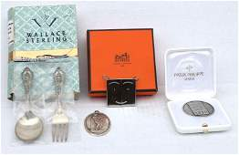 box lot incl Wallace sterling silver baby fork  spoon