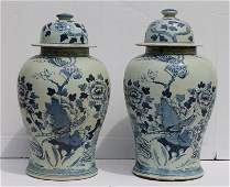 pr of Chinese blue  white temple jars  approx 19 12