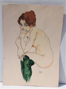 "Egon Schiele (1890-1918) 17""x12"" mixed media (graphite,"