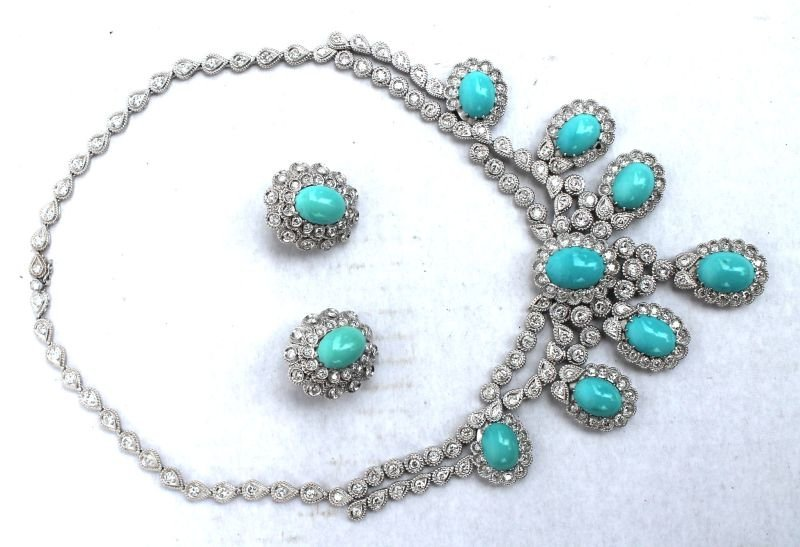 Beautiful 18k gold Persian turquoise & diamond necklace