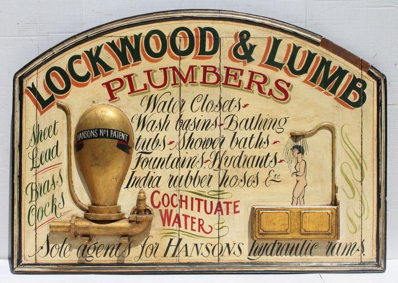 """""""Lockwood & Lumb Plumbers"""" wooden carved & painted"""