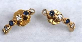Beautiful 14k gold Sapphire & diamond earrings